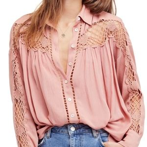 Free People Katy Bird Button Down Shirt Size S